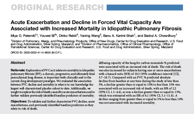 Acute Exacerbation and Decline in FVC